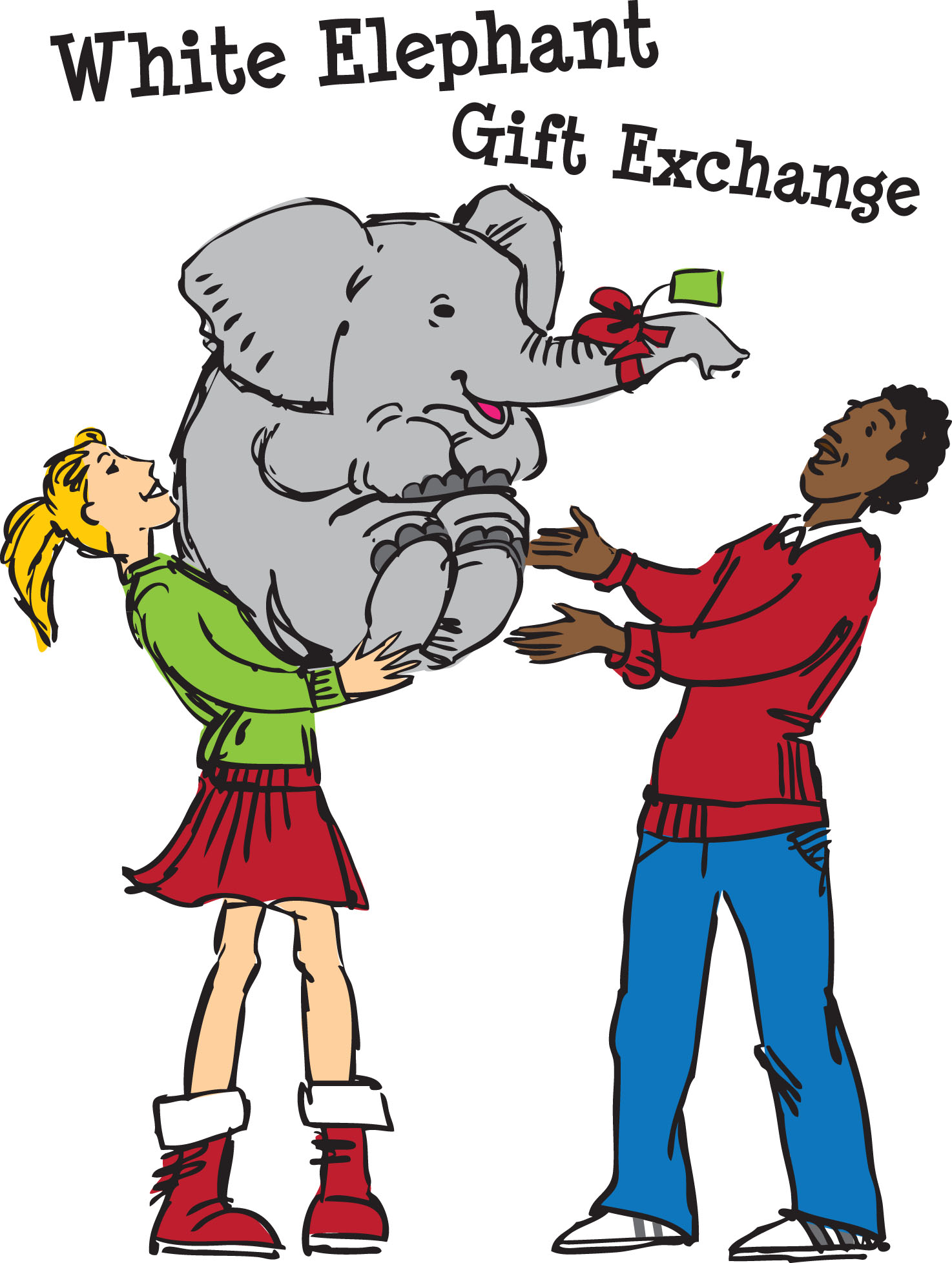 1474x1956 White Elephant Gift Exchange Clipart