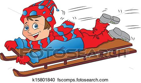 450x267 Clipart of Vector of excited boy on sleigh. k15801840