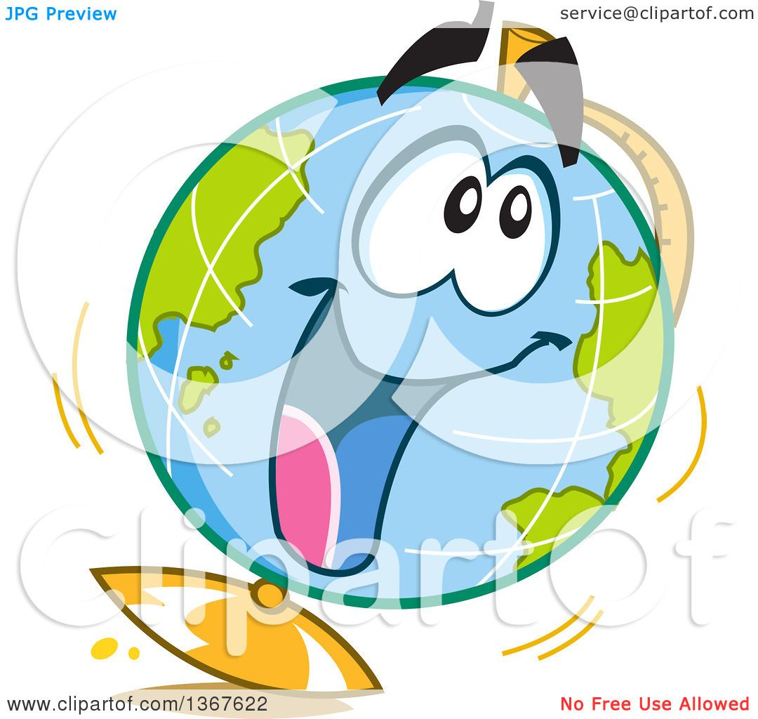 1080x1024 Clipart Of A Cartoon Excited Desk Globe Character