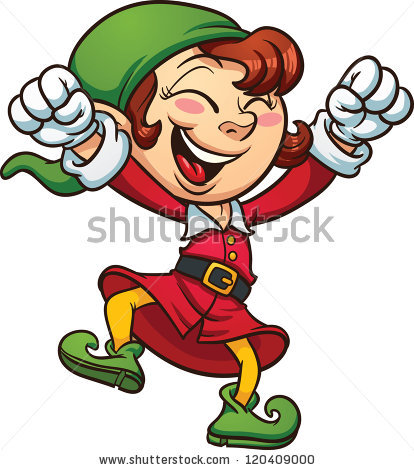 414x470 Excited Elf Clipart