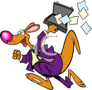 300x294 Free Clipart Image An Excited Kangaroo Businessman