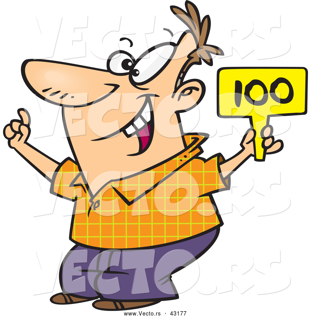 1024x1044 Vector of a Excited Cartoon Man Bidding with His Sign Raised up by