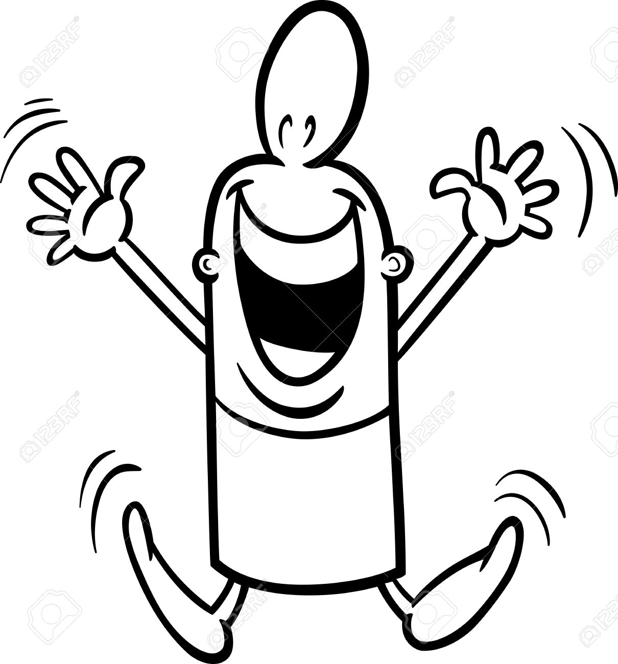 1210x1300 Black And White Cartoon Illustration Of Happy Or Excited Funny