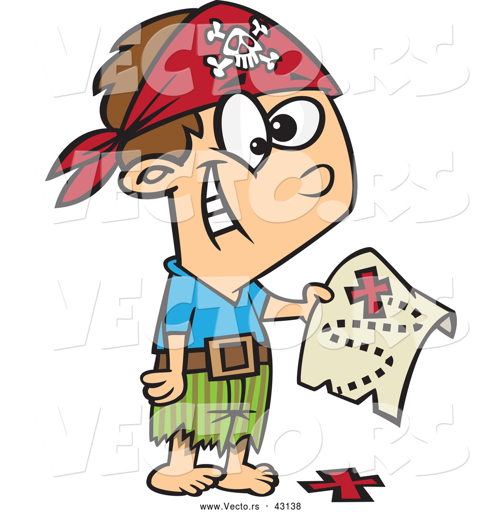 1024x1044 Vector Of A Excited Cartoon Pirate Boy Holding A Map Over The X