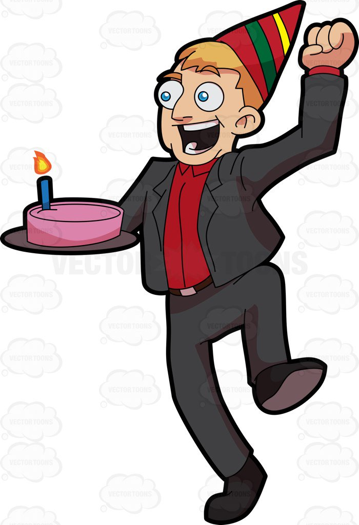 700x1024 An Excited Man Carrying A Birthday Cake Cartoon Clipart