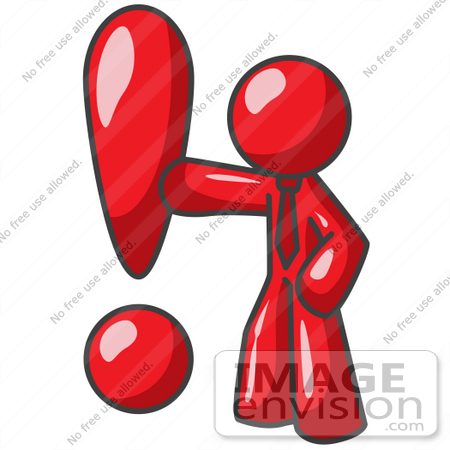 450x450 Clip Art Graphic Of A Red Guy Character With An Exclamation Point