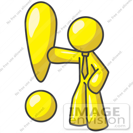 450x450 Clip Art Graphic Of A Yellow Guy Character With An Exclamation