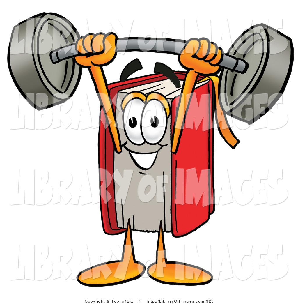1024x1044 Cliprt Of Strong Red Book Mascot Cartoon Character Holding
