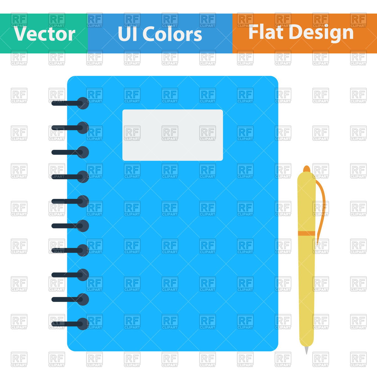 1200x1200 Flat Design Icon Of Exercise Book And Pen In Ui Colors Royalty