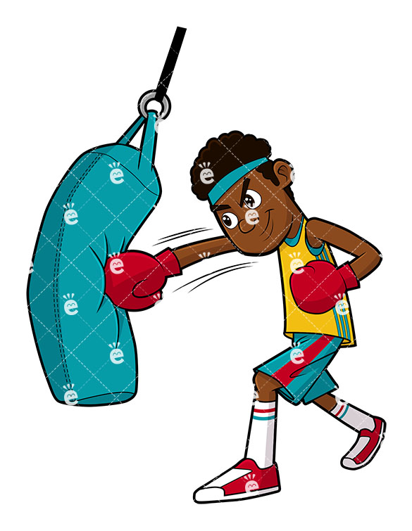 585x755 Black Man Doing A Punching Bag Workout Vector Clipart