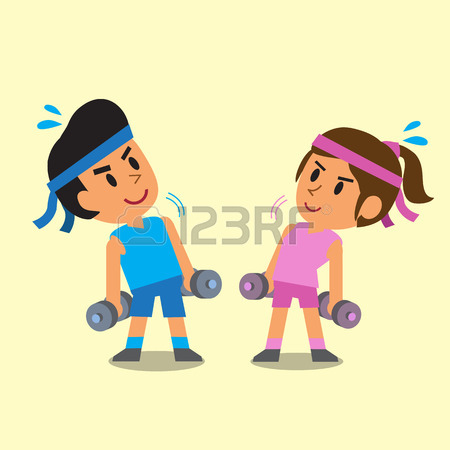 450x450 Cartoon Old Man And Old Woman Doing Dumbbells Exercise Royalty