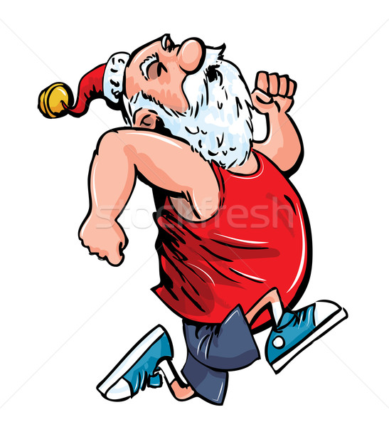 547x600 Cartoon Santa Running For Exercise. Vector Illustration Anton