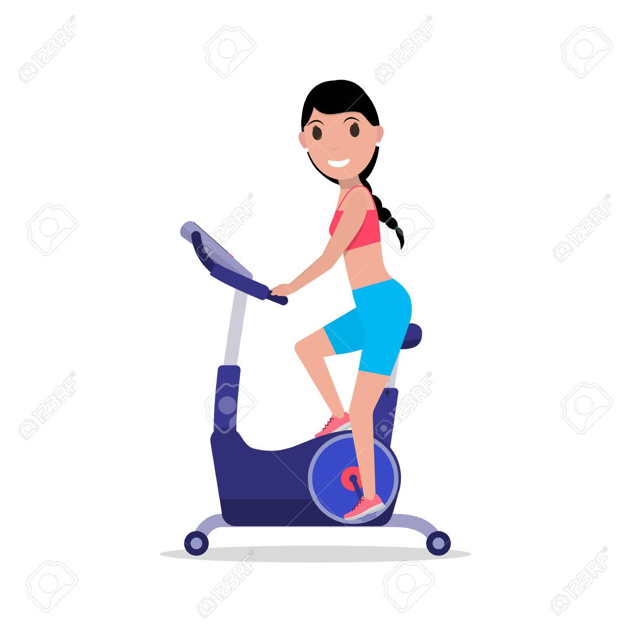 1300x1300 Vector Illustration Cartoon Woman On A Exercise Bike. Isolated