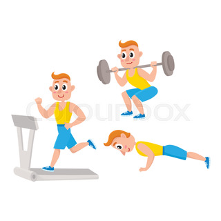 320x320 Young Man Running, Training In Gym, Doing Sport Exercises, Cartoon
