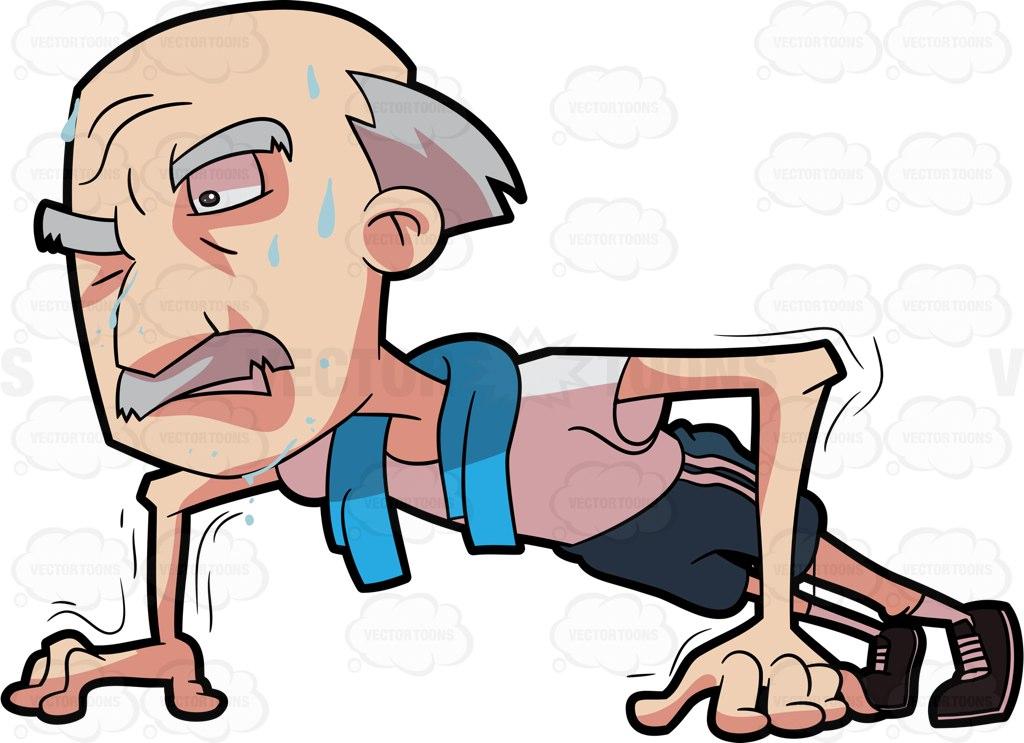 1024x743 A Grandpa Trying Hard To Do Some Push Ups Cartoon Clipart