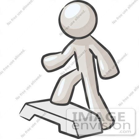 450x450 Clip Art Graphic Of A White Guy Character Doing Step Exercises