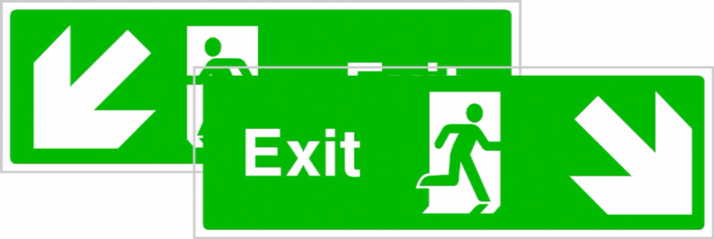 1024x344 Double Sided Emergency Exit Sign With Down Left And Down Right Arrows