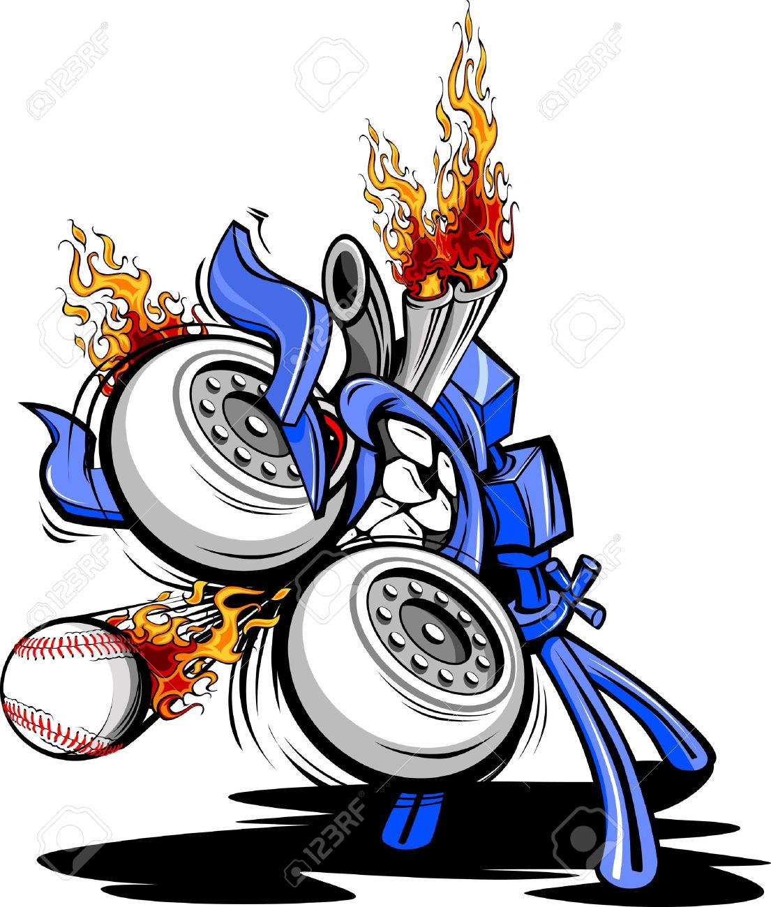 1105x1300 Cartoon Vector Illustration Of A Monster Baseball Pitching Machine