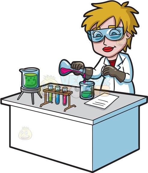 493x575 A Female Scientist Combining Mixtures During An Experiment Cartoon