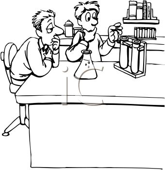 340x350 Black And White Cartoon Of Lab Partners Doing A Science Experiment