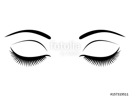 500x375 Closed Eyes With Black Eyelashes On A White Background. Stock