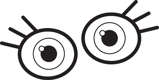 664x334 Eyes Clipart Black And White
