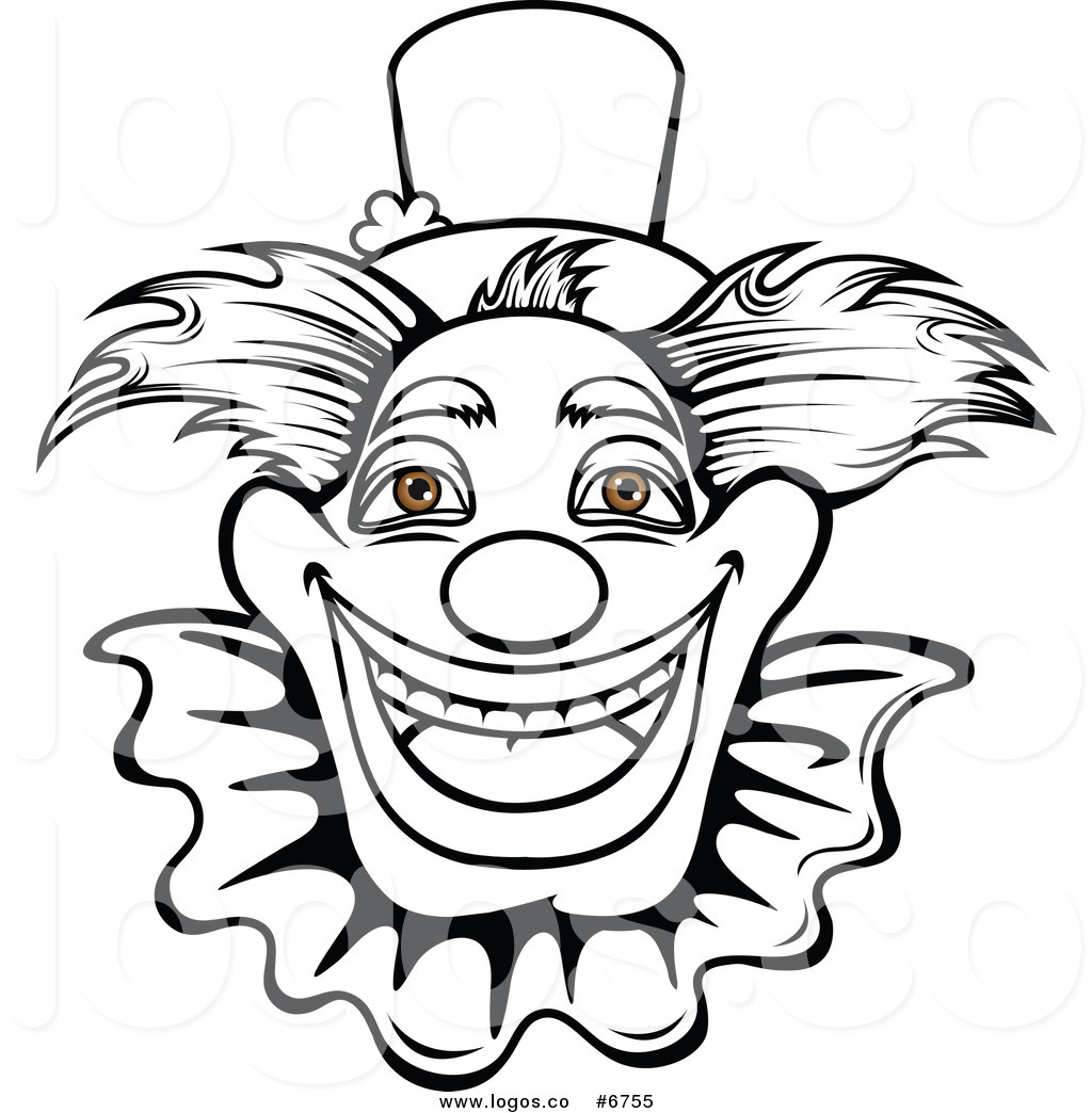 1024x1044 Royalty Free Clip Art Vector Logo Of A Black And White Happy Clown