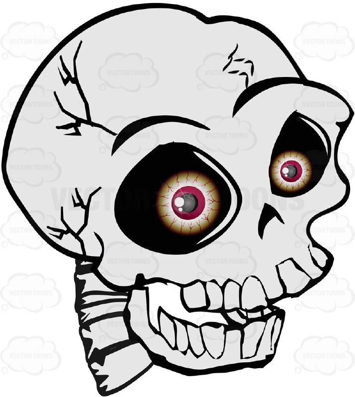 714x800 Cartoon Human Skull With Realistic Bloodshot Red Eyeballs