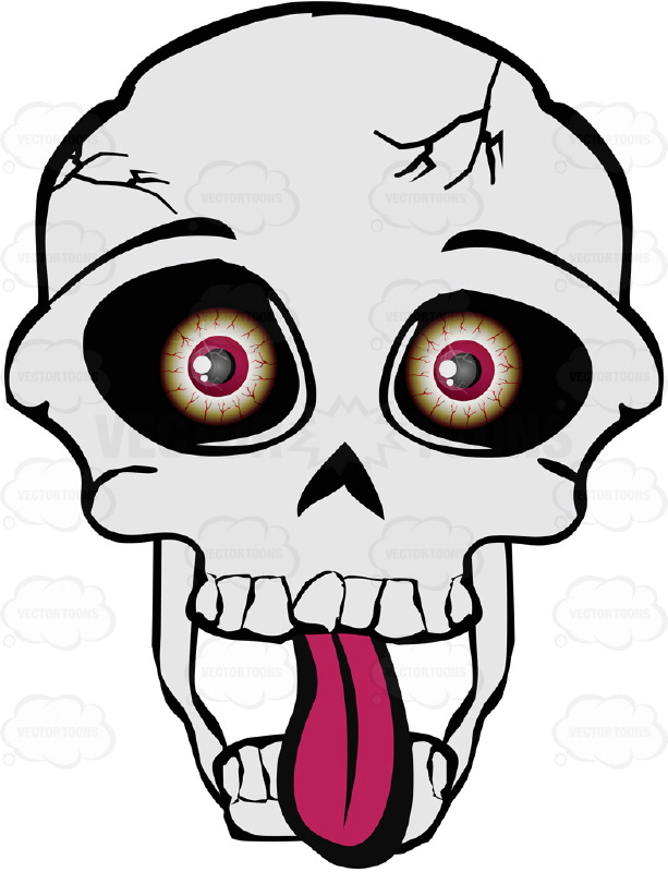 613x800 Cartoon Skull With Eyeballs Looking Straight On With Tongue Out