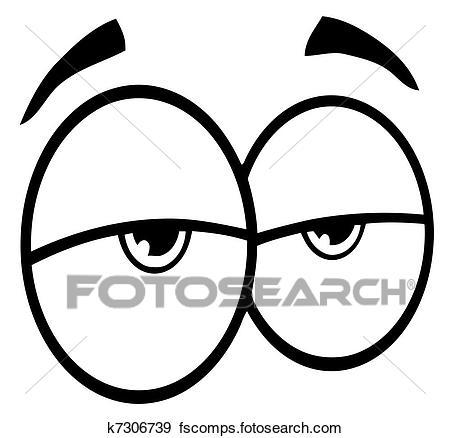 450x438 Clip Art Of Outlined Sad Cartoon Eyes K7306739