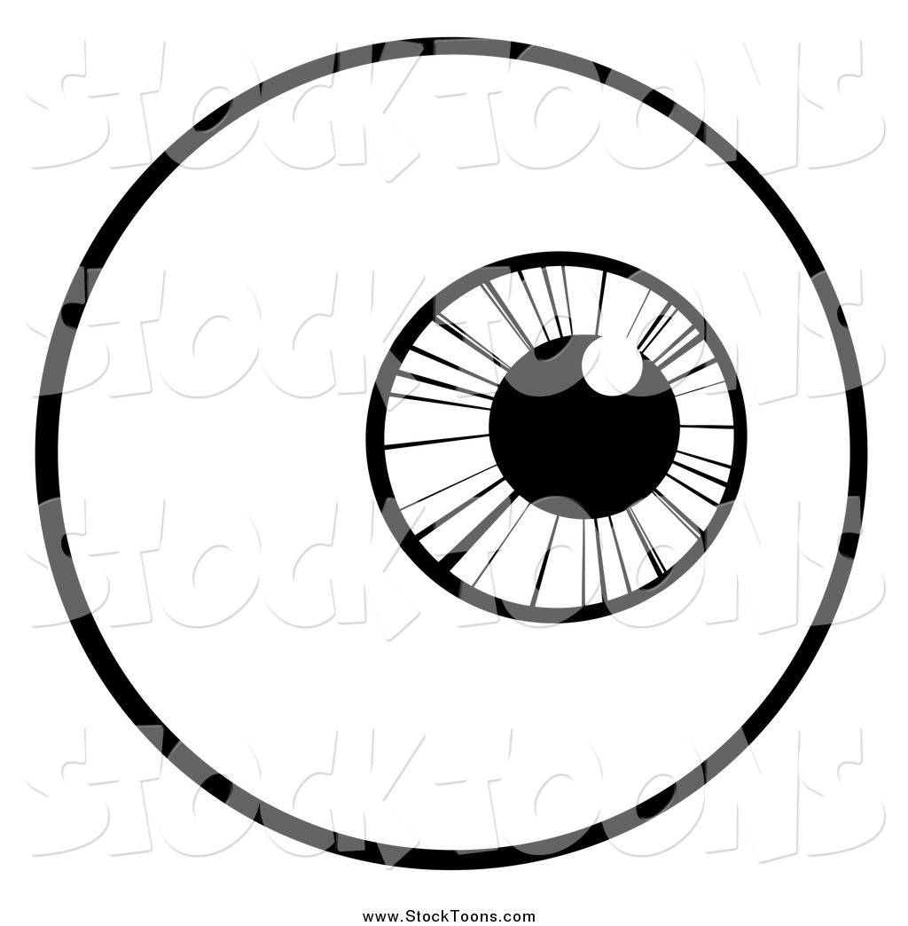 1024x1044 Stock Cartoon Of A Black And White Eyeball By Hit Toon
