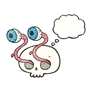 300x300 Gross Freehand Drawn Comic Book Style Cartoon Skull With Eyeballs