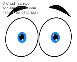 300x242 Pair Of Blue Eyeballs With Eyebrows Clipart Image