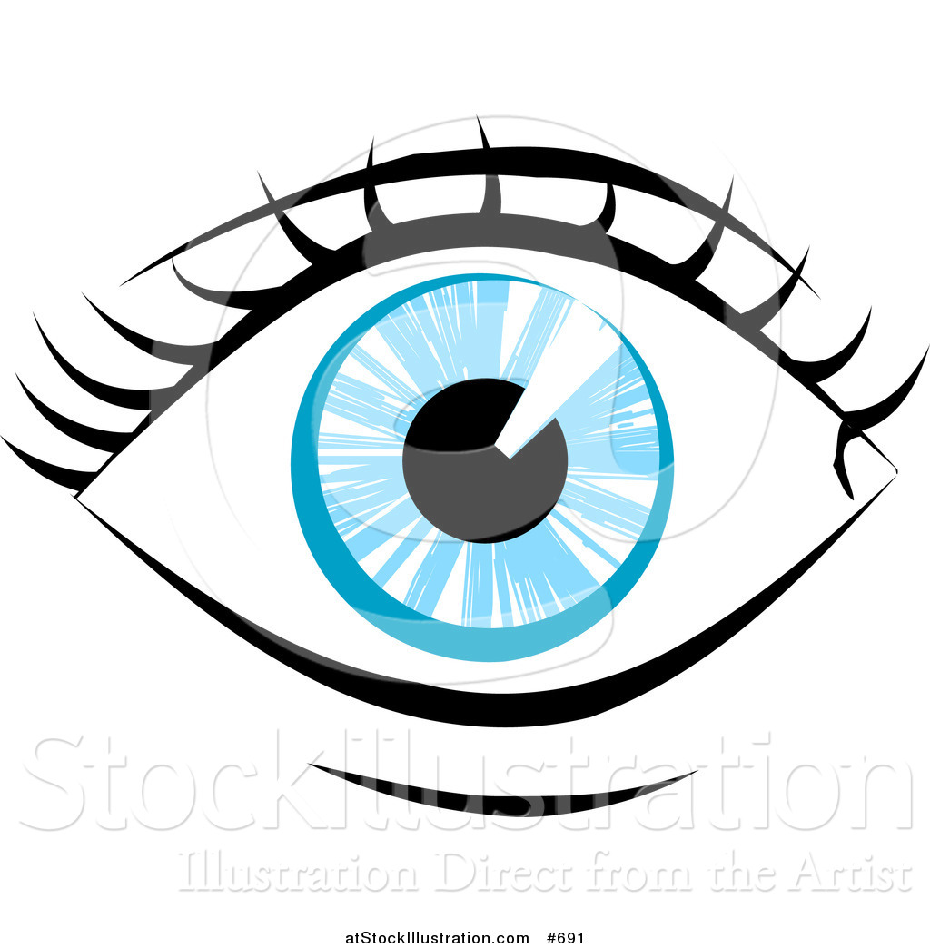 1024x1044 Vector Illustration Of A Blue Human Eye And Lashes By