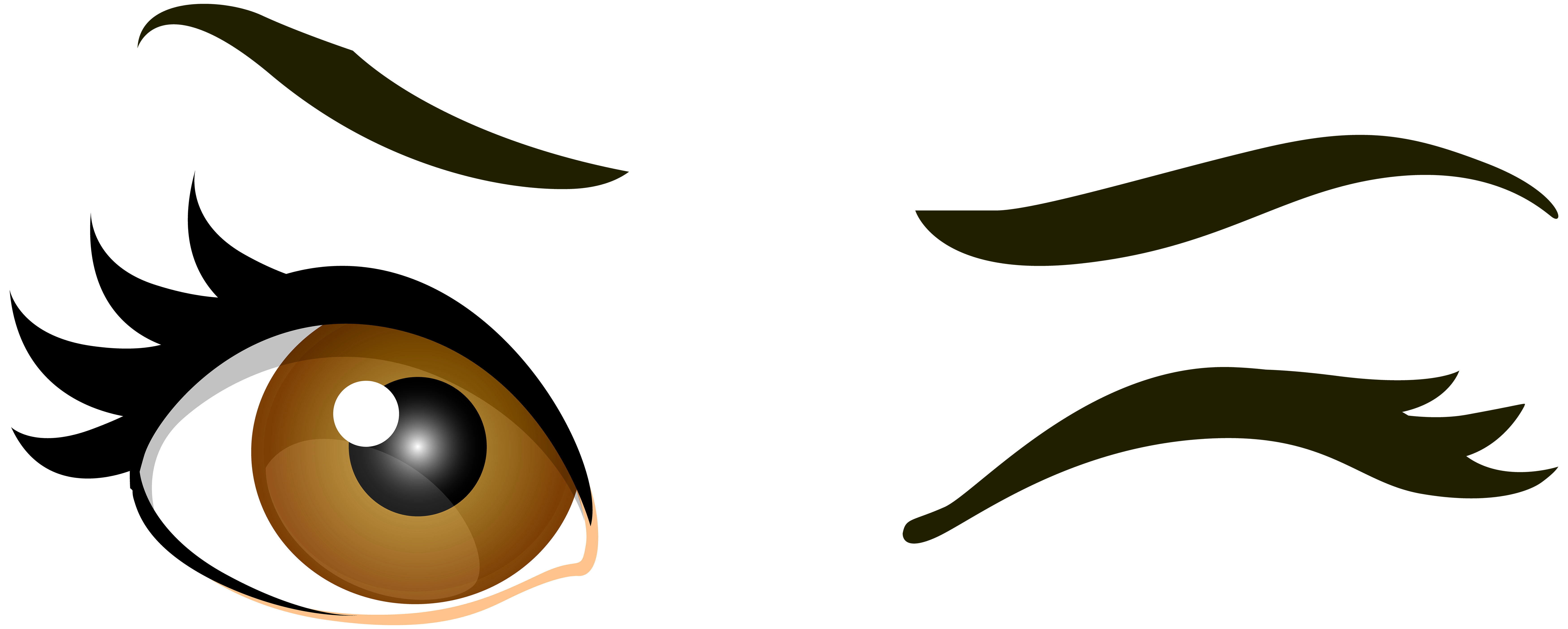 7000x2809 Brown Winking Eyes Png Clip Art