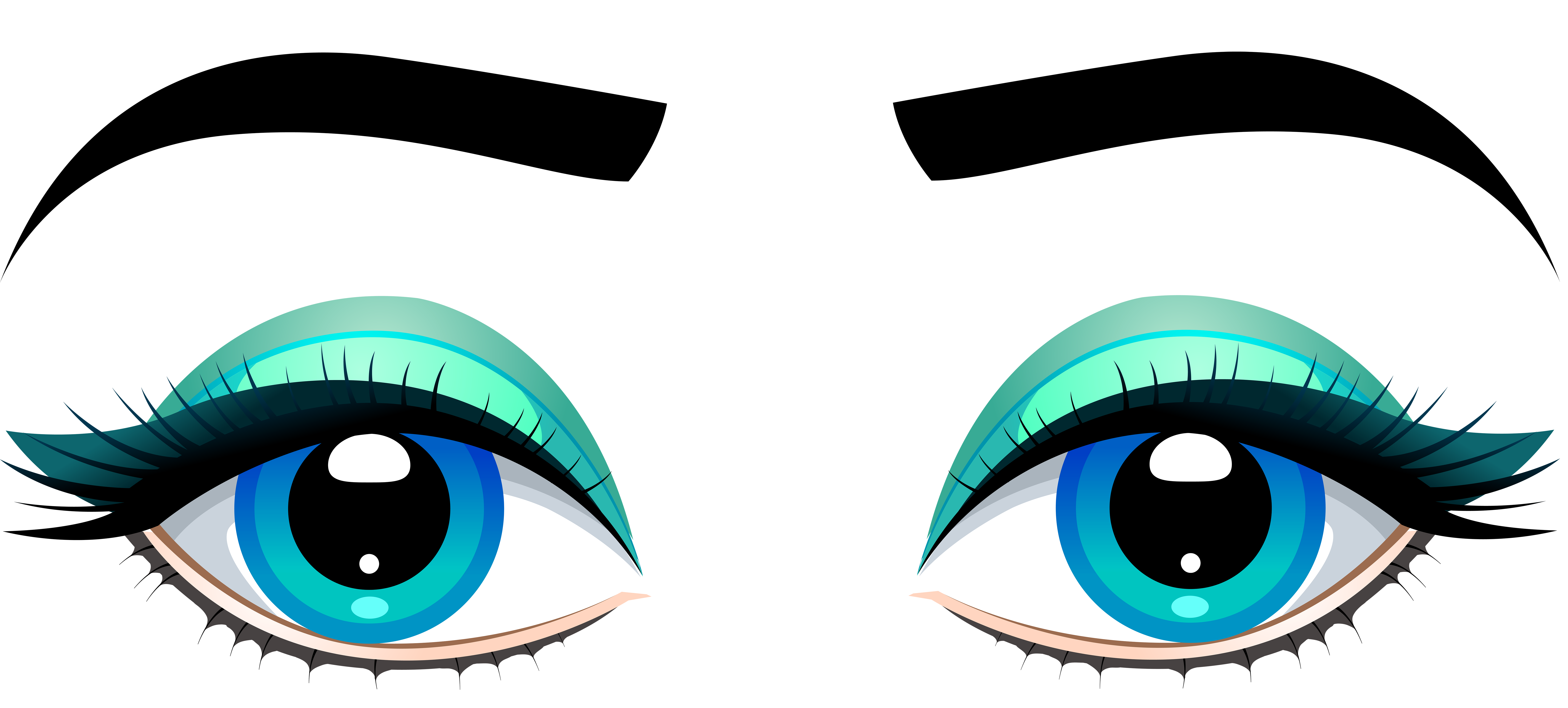 8000x3611 Female Blue Eyes With Eyebrows Png Clip Art