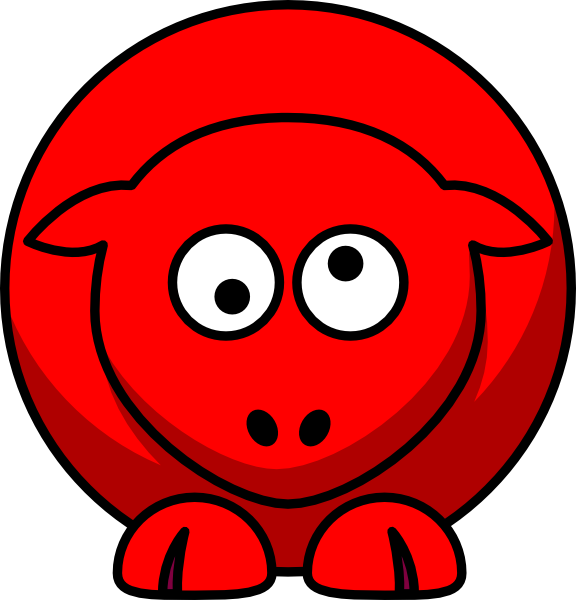 576x600 Sheep Red Looking Crossed Eye Clip Art