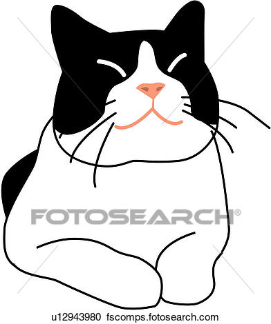 392x470 Clipart Of Lying Down, Kitty, Eyes Closed, Sitting, Animal