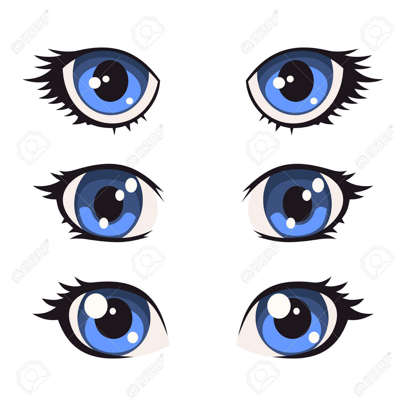 1300x1300 Blue Cartoon Anime Eyes Set. Vector Illustration Royalty Free