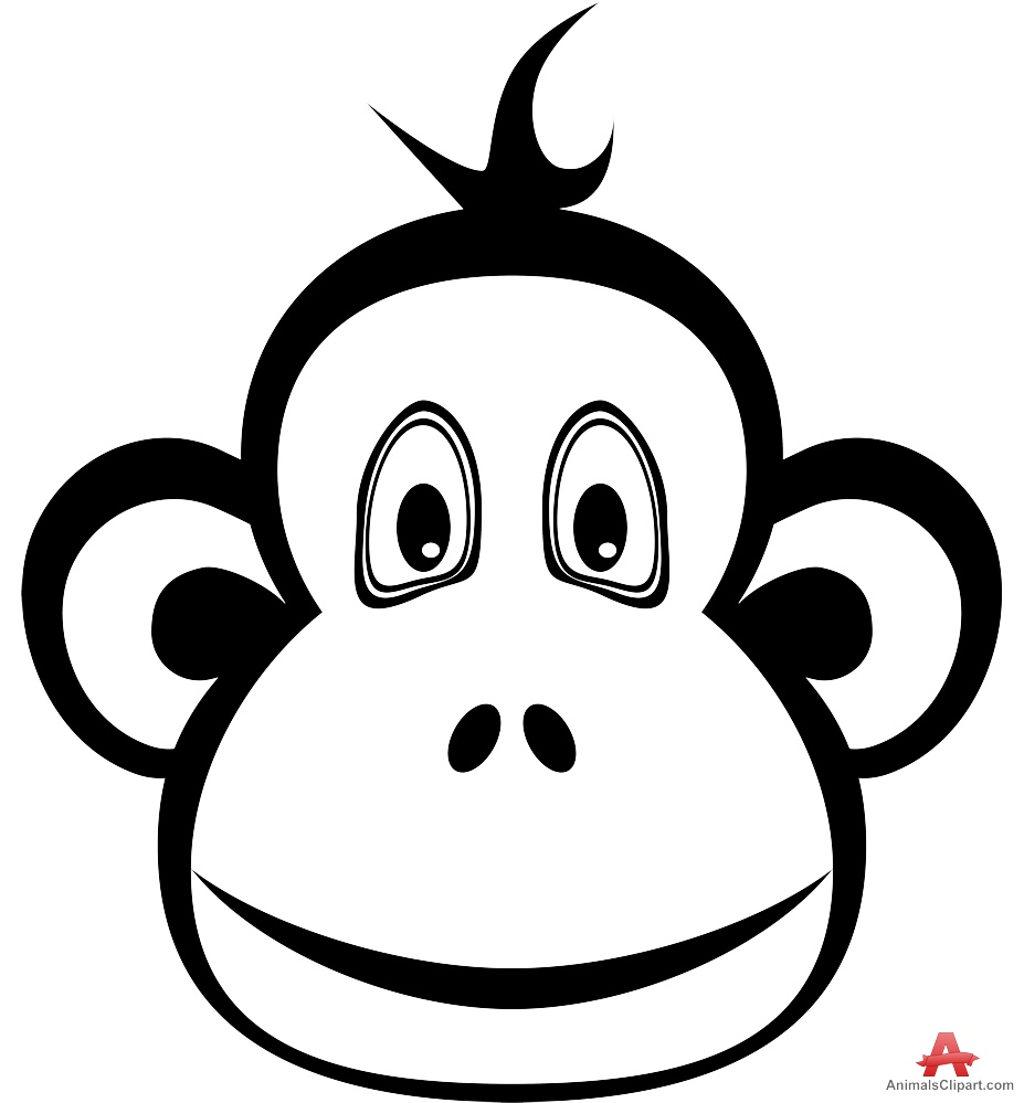 927x999 Monkey Face Clipart Black And White