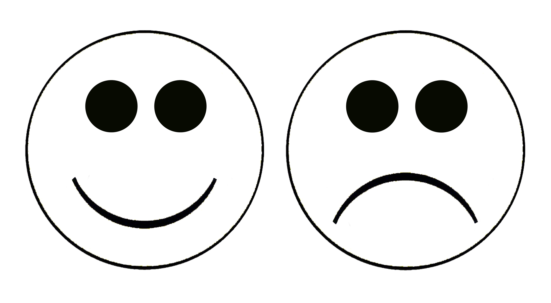 2192x1206 Smiley Face Clip Art Black And White