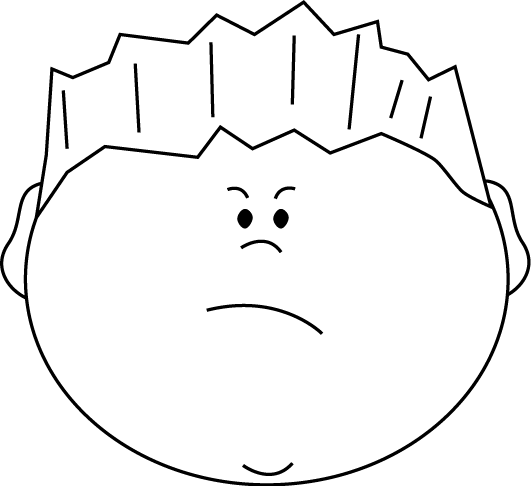 531x486 Black And White Angry Face Boy Clip Art
