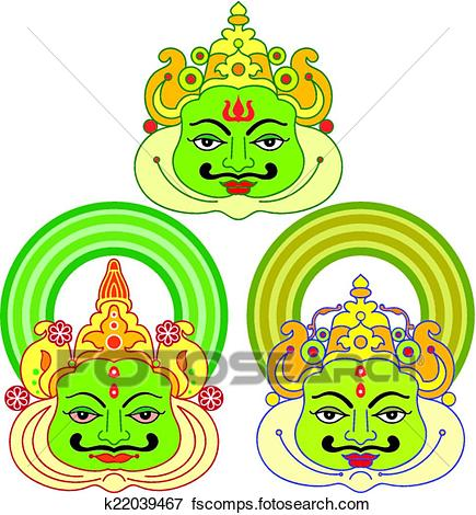 435x470 Clip Art Of Kathakali Face Mask, Paint K22039467