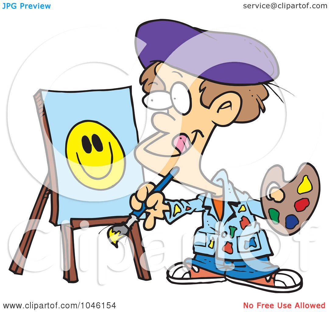 1080x1024 Royalty Free (Rf) Clip Art Illustration Of A Cartoon Boy Painting