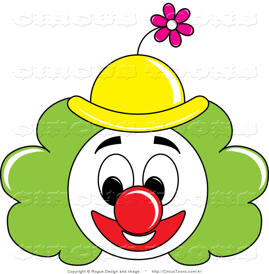1024x1044 Circus Clipart Of A Grinning Painted Clown Face With Green Hair
