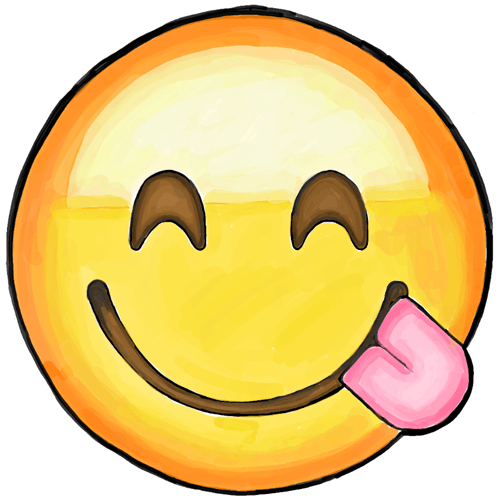 500x499 How To Draw Smiling Emoji With Tongue Sticking Out Tutorial