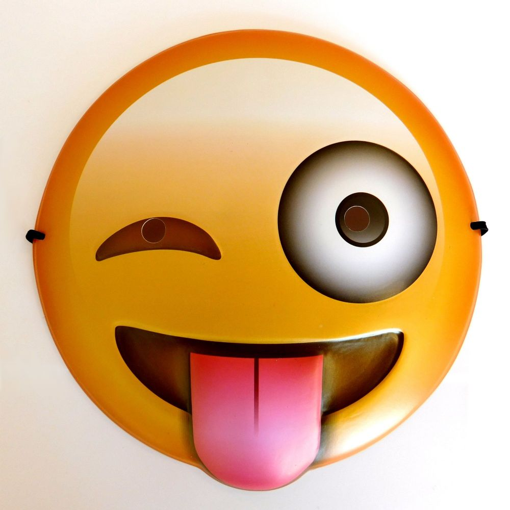 1000x1000 Tongue Out Emoji Mask Smiley Smile Face Party Novelty