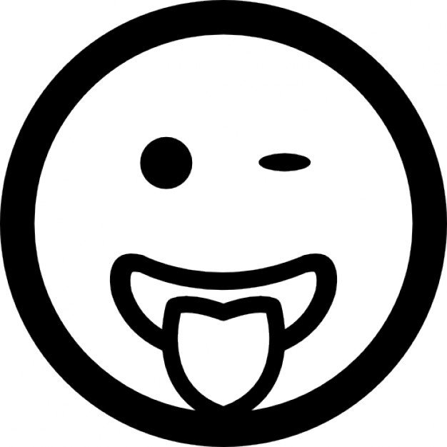 626x626 Winking Emoticon Face With Stuck Out Tongue Black Symbol Icons