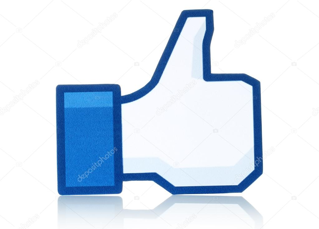 1023x735 Facebook Thumbs Up Sign Printed On Paper And Placed On White