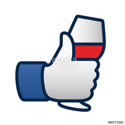 500x500 Like Thumbs Up Symbol Icon With Glass Of Red Wine Stock Image